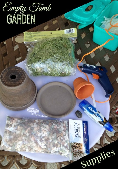 Empty Tomb Garden Supplies pots, rocks, hot glue gun, moss, sticks