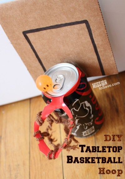 This DIY Tabletop Basketball Hoop project is a slam dunk!  Uses repurposed items too!