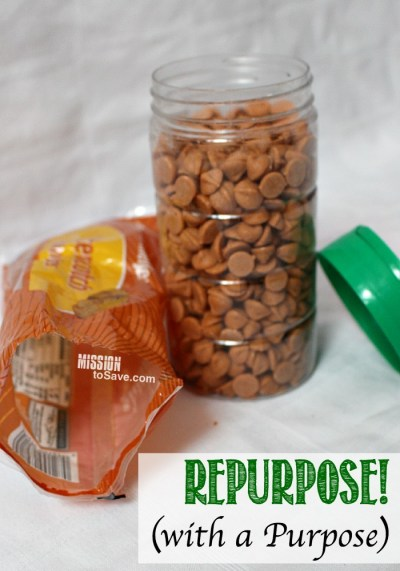 Check out this clever way to recycle.  Repurpose Parmesan Cheese Shaker for Baking Chips Storage.  On 16 oz bag fits perfectly for pantry storage.