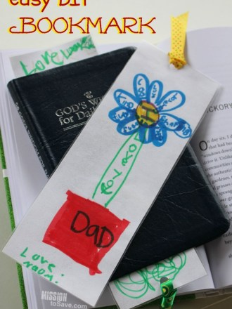 This easy DIY Bookmark makes a perfect gift! It's a sentimental project from kids for Mother's Day, Father's Day, Teacher or just because!