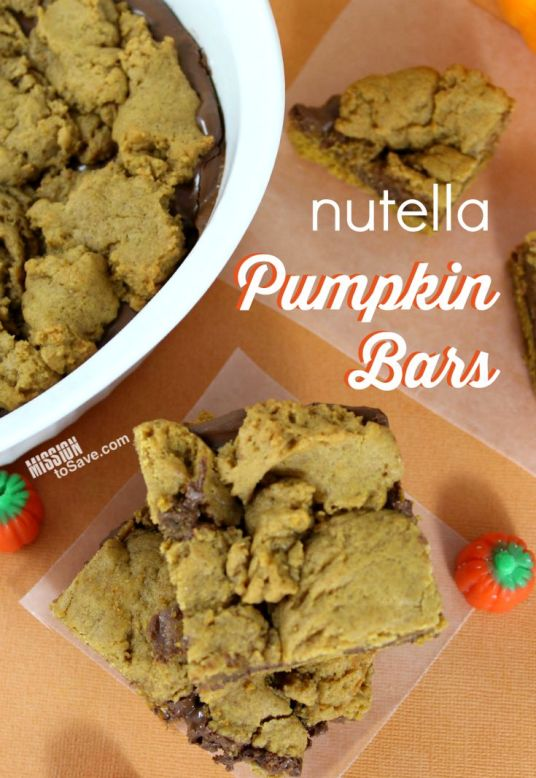 Make this delicious Nutella Pumpkin Bars Recipe Perfect for Fall treats!