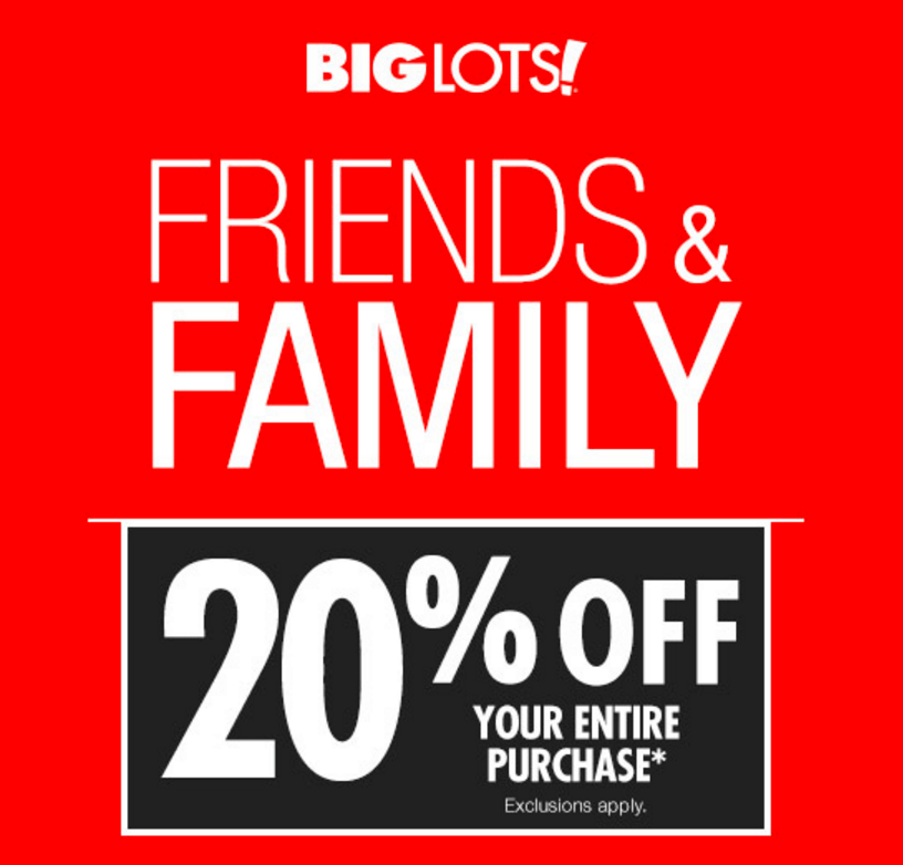 Big Lots 20 Off Sale Friends And Family Weekend 1 18 1 20 Plus Extra Day To Shop On Monday Mission To Save