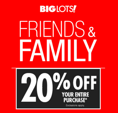 Big Lots next 20% off sale is this weekend. Big Lots Rewards Card members get the saving on 1/23 and everyone can use a Big Lots coupon on 1/24 to save.