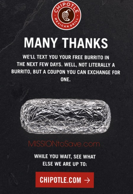 free chipotle coupon text offer