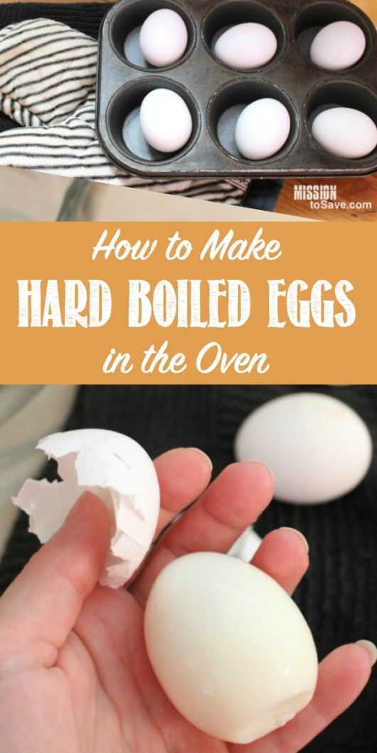hard boiled eggs in muffin tin and peeling a hard boiled egg