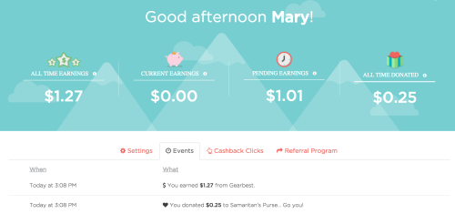 giving assistant cash back results