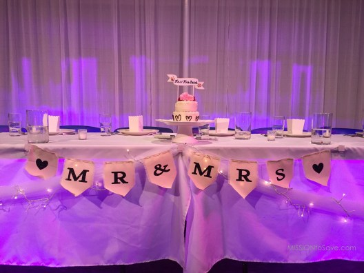 Mrs & Mr Banner for Wedding Reception using Cricut iron on letters