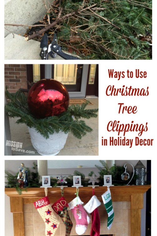 If you get a live tree for the holiday, gather up those Christmas tree clippings! Then see these Ways to Use Christmas Tree Clippings in Holiday Decor. A frugal decorating tip!