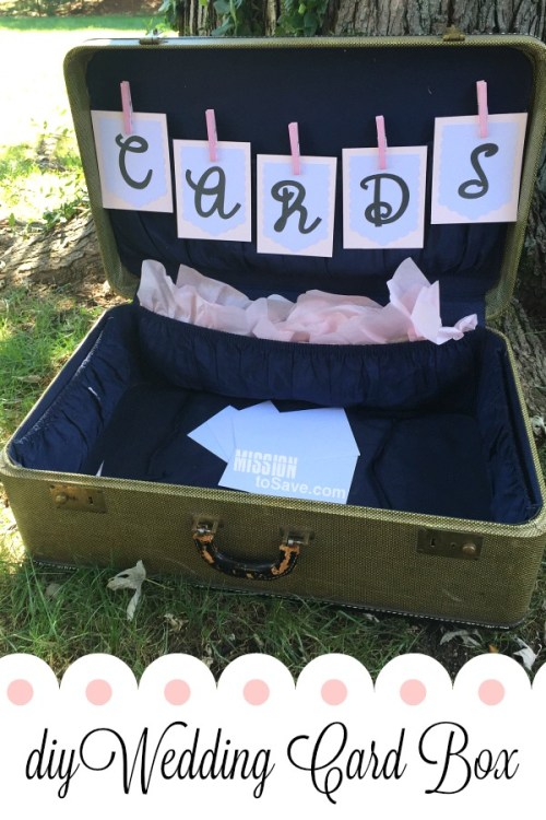 Make this sweet DIY Wedding Card Box using a vintage suitcase and letter banner cut on a Cricut Explore Air. It's the perfect addition to a gift table at a Wedding Reception.