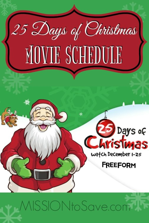 Freeform Christmas Schedule.Freeform 25 Days Of Christmas Movie Schedule 2017