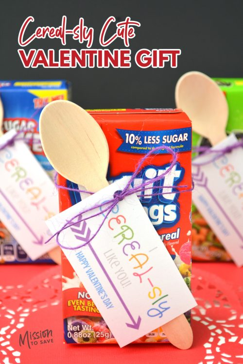 cereal with Valentine's Day printable tag