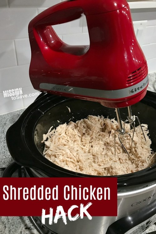 showing how to do the shredded chicken hack with hand mixer and crockpot