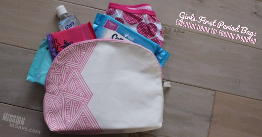 Toiletry bag with pads, hand sanitizer, underwear for girls first period