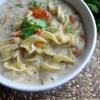 Use Shredded Chicken Sandwich Leftovers For Frugal Noodle Soup Recipe