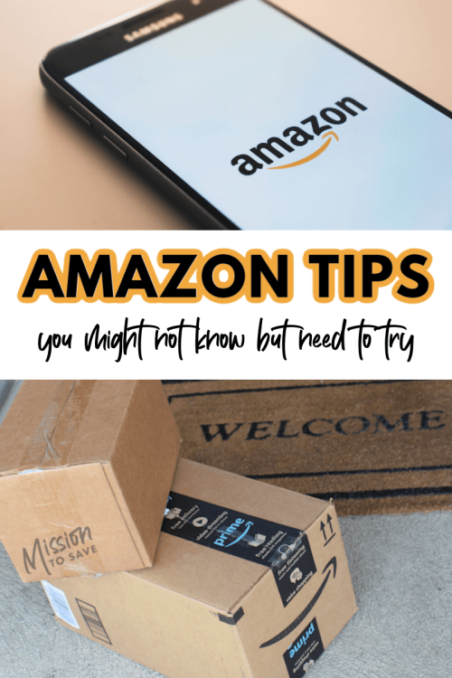 amazon app and amazon boxes with text amazon tips to try