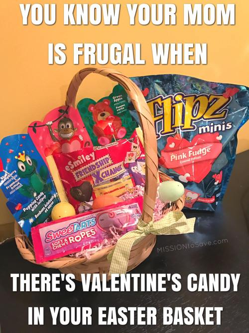 valentines candy in an easter basket meme