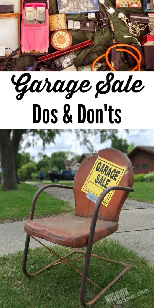 junk and old chair with garage sale sign