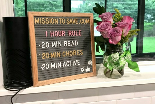 letter board with summer rules on reading chores and activity before screens
