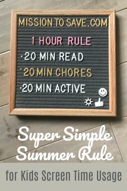 letter board with summer rules 1 hour rule