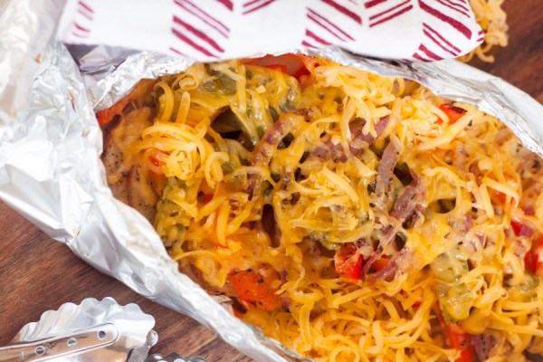 cheesy grilled peppers and potatoes in foil pack