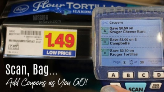 Kroger Scan Bag Go scanner helps add coupons as you shop