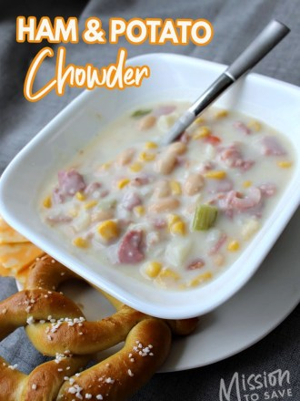 bowl of ham and potato chowder