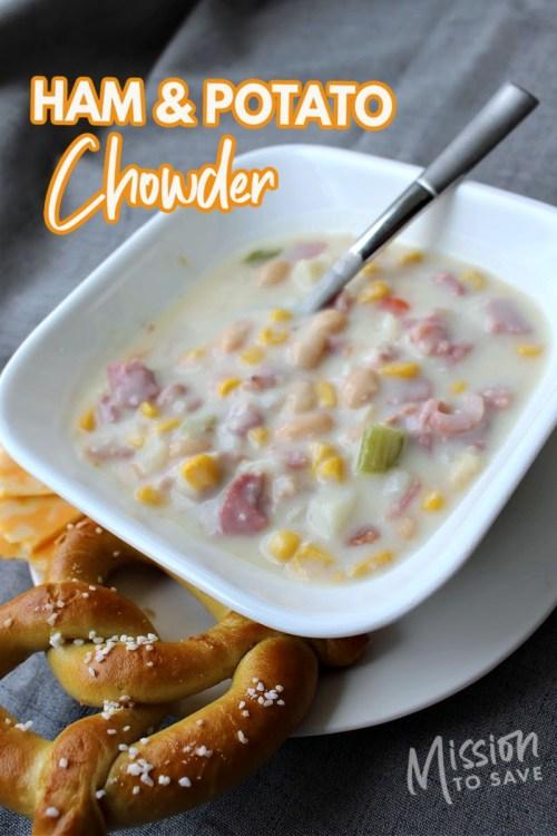 bowl of ham and potato chowder