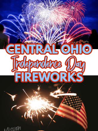 fireworks sparklers and US flag with text Central Ohio Fireworks