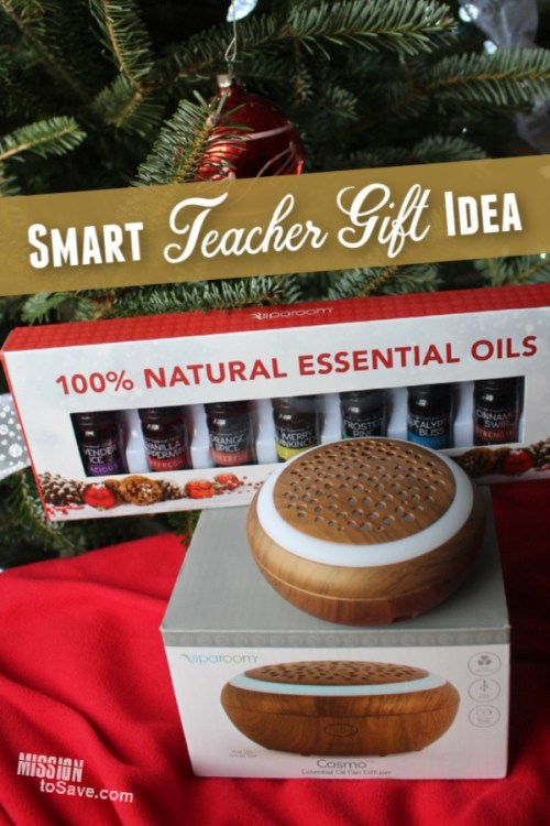 Give this unique and smart teacher gift idea- an oil diffuser and essential oil set.
