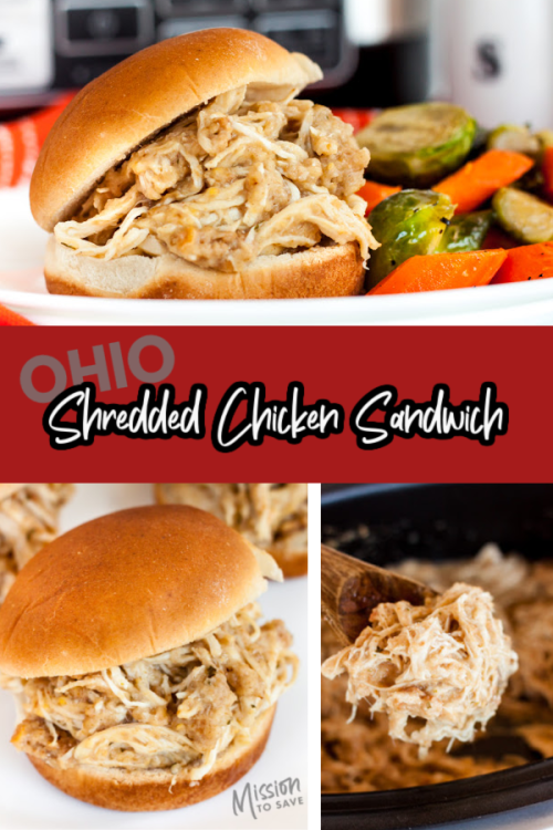 collage of shredded chicken sandwich from Ohio