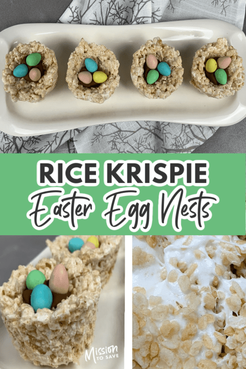 collage of Rice Krispie Easter Egg Nests recipe picutres