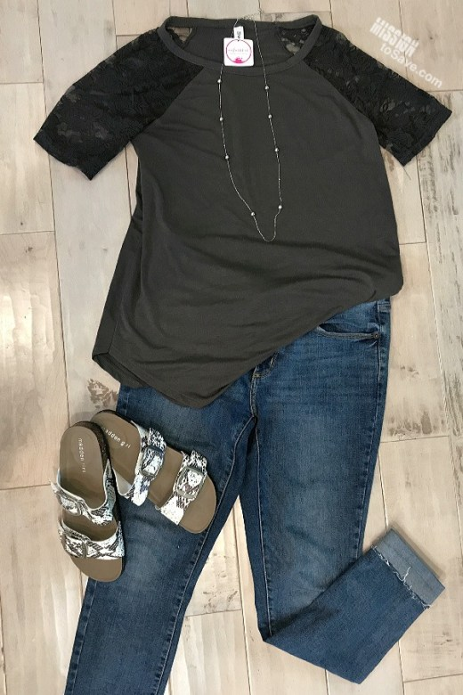 Lace Tee and Jeans Flat Lay