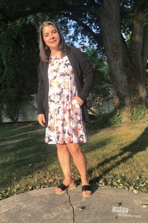 floral dress with cardigan outfit