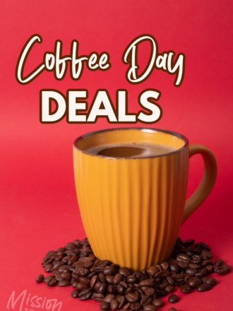 cup of coffee with text coffee day deals