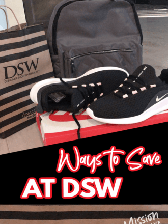 shoes and DSW bag text ways to save at DSW