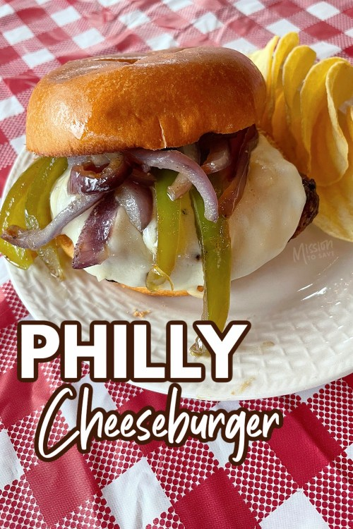 close up on philly cheeseburger on plate