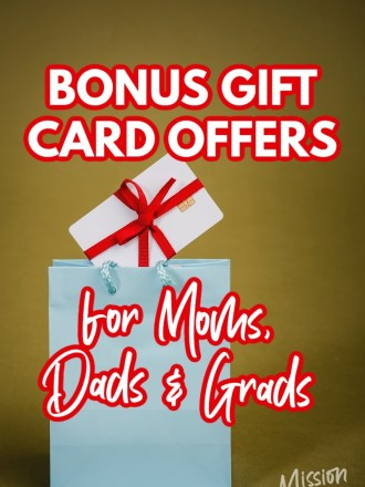 gift bag and text bonus gift card offers for moms dads and grads