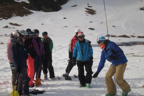Anna Cook describing probing technique at Snow Farm