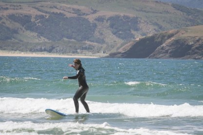 surfing beach training Mission WOW women's getaway Catlins Surf