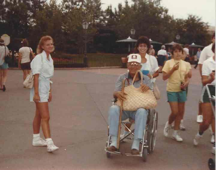 1986 Disney trip. Traci, Nancy Piazza (family friend), and Mack Owen (Traci's dad)