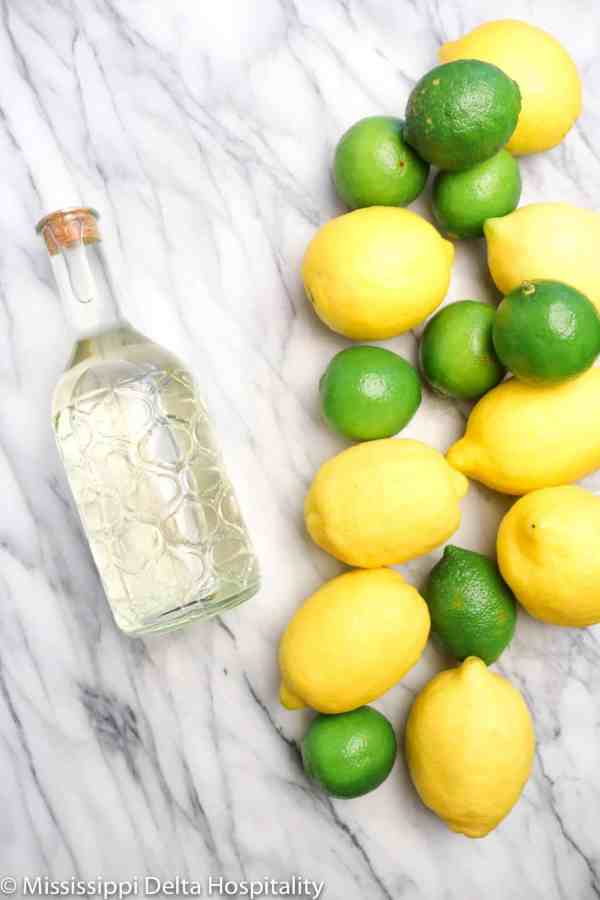 a bottle of simple syrup with whole lemons and limes on a marble board.