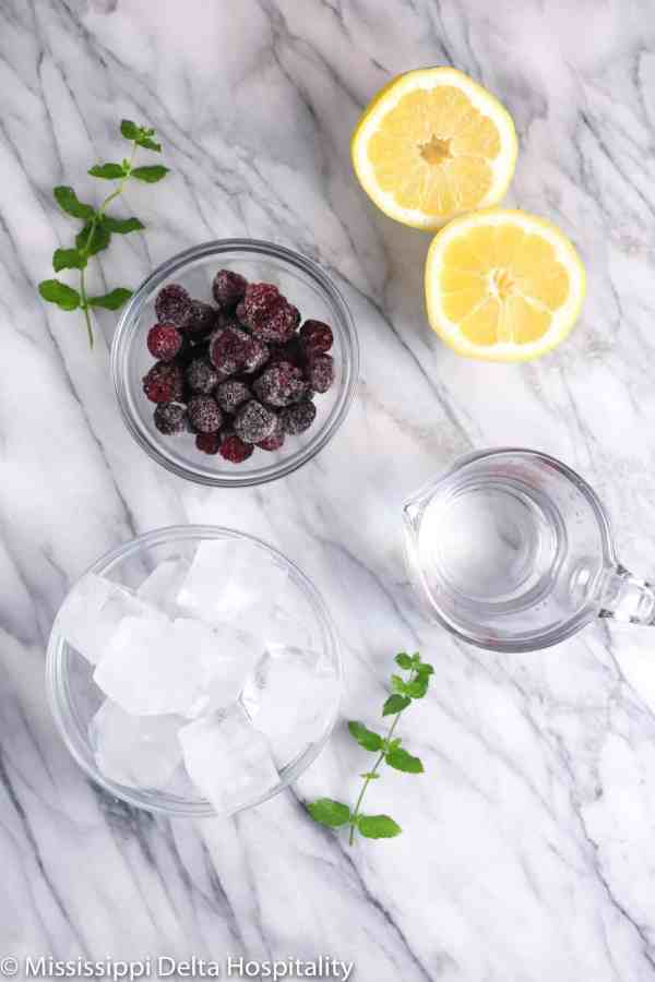 a lemon sliced in half, a bowl of blackberries, a bowl of ice, a measuring cup with water, and two mint sprigs of a marble board