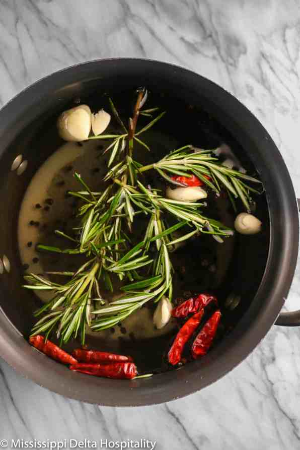 ingredients for a turkey brine in a large stock pot