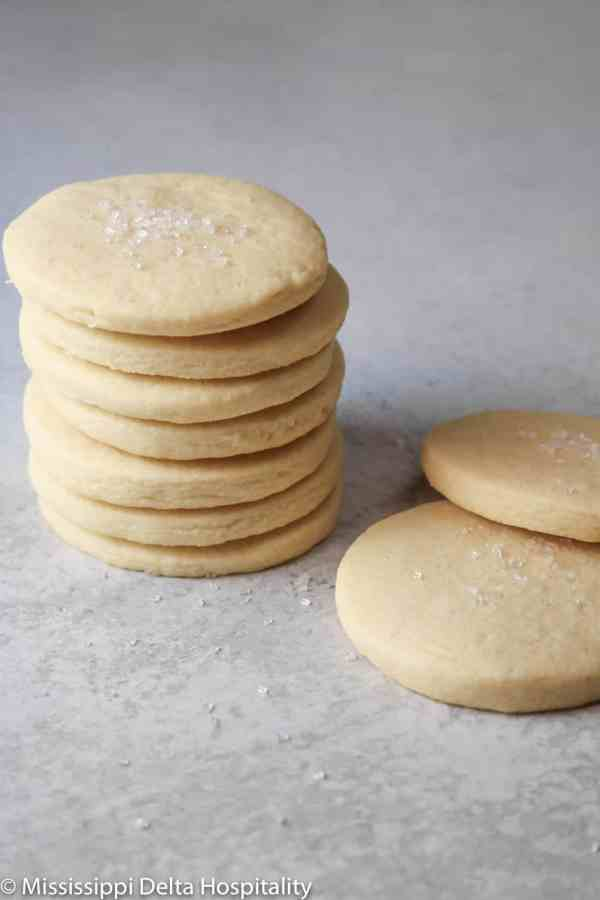 sugar cookies stacked on top of each other