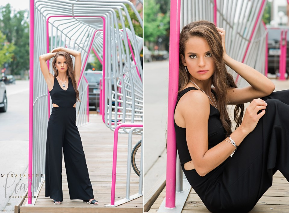 fun fashion senior pictures in downtown Iowa City with Mississippi Pearl Photography, black jumpsuit, urban senior pictures