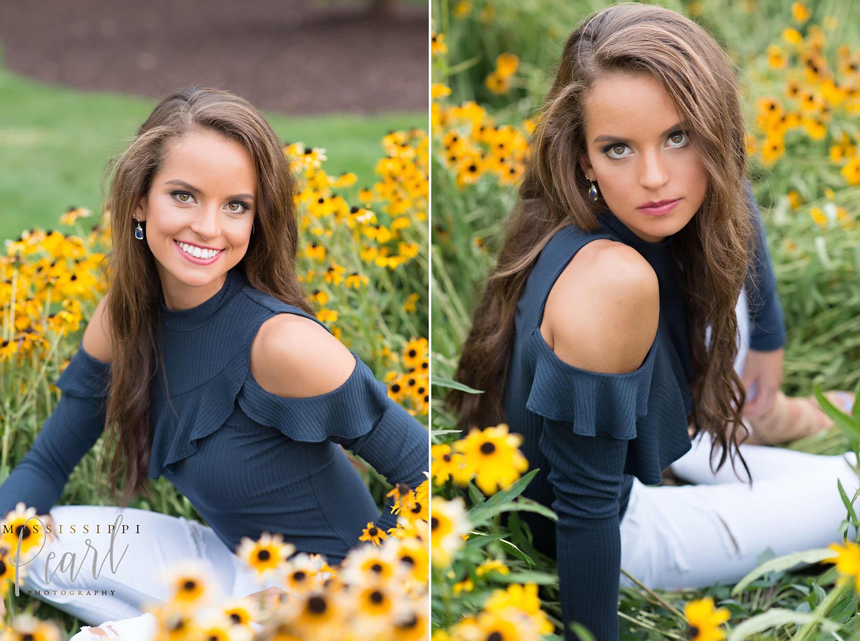 fun fashion senior pictures in downtown Iowa City with Mississippi Pearl Photography, wildflowers, daffodils