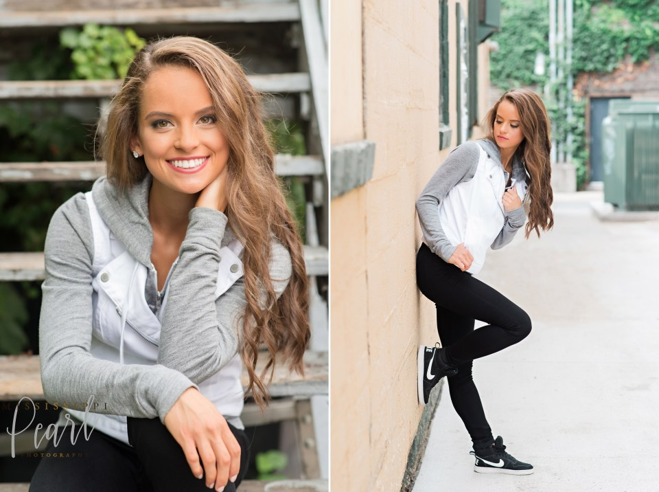 fun fashion senior pictures in downtown Iowa City with Mississippi Pearl Photography, Nike athleisure wear