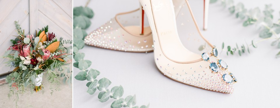 Christian Louboutin wedding pumps with eucalyptus and bridal bouquet
