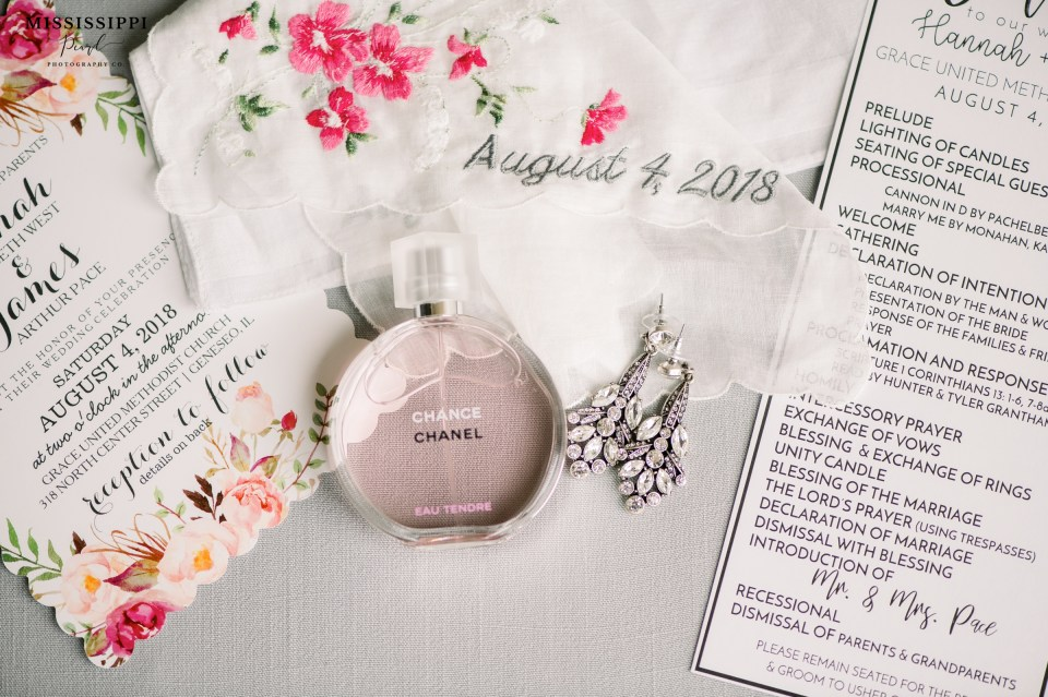 Chanel Perfume bottle with bridal earrings, embroidered hankie and invitation suite