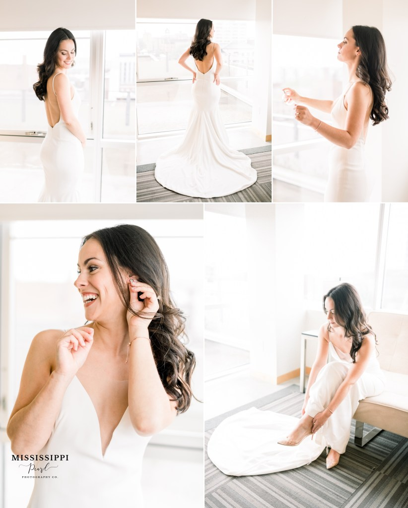 simple white wedding gown getting ready in hotelVetro